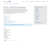 CMA 130 - Introduction to Pharmacology I