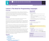 CS Principles 2019-2020 3.1: The Need for Programming Languages