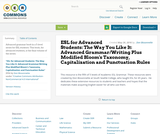 ESL for Advanced Students: The Way You Like It: Advanced Grammar/Writing Plus Modified Bloom's Taxonomy, Capitalization and Punctuation Rules