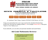 4th Grade Math Assessment Reviewer