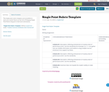 Single Point Rubric Template