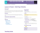 CS Discoveries 2019-2020: Web Development Lesson 2.9: Project - Multi-Page Websites