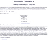 Computation and Problem Solving in Undergraduate Physics