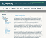 Foundations of Real World Math