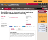 Special Seminar in Communications: Leadership and Personal Effectiveness Coaching, Fall 2008
