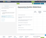 Argumentation Checklist—Middle School