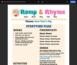 Romp & Rhyme Storytime Lesson Plan: Now That's Big!
