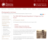 The 1905-1907 Breasted Expeditions to Egypt and the Sudan: A Photographic Study