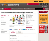 Fundamentals of Advanced Energy Conversion, Spring 2004