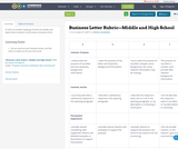 Business Letter Rubric—Middle and High School