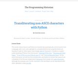 The Programming Historian 2: Transliterating non-ASCII characters with Python