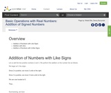 Basic Operations with Real Numbers: Addition of Signed Numbers