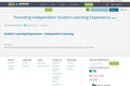 Providing Independent Student Learning Experience