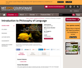 Introduction to Philosophy of Language, Fall 2011