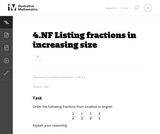 Listing Fractions in Increasing Size