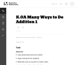 K.OA Many Ways to Do Addition 1