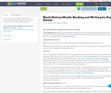 Black History Month: Reading and Writing for Key Details