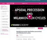 Cosmology and Astronomy: Apsidal Precession (Perihelion Precession) and Milankovitch Cycles