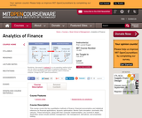 Analytics of Finance, Fall 2010