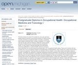 Postgraduate Diploma in Occupational Health: Occupational Medicine and Toxicology I