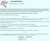 Guelph Physics Tutorials: Logarithms