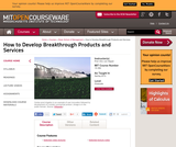 How to Develop Breakthrough Products and Services, Spring 2012