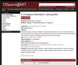 Organic Chemistry II, Spring 2003