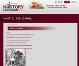 Reading Like a Historian, Unit 2: Colonial