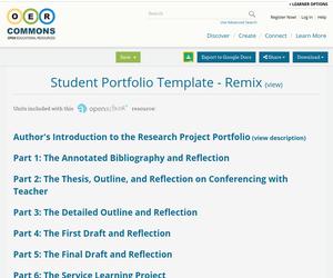 student portfolio template remix oer commons. Black Bedroom Furniture Sets. Home Design Ideas