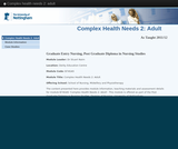 Complex health needs 2: adult