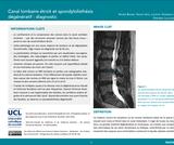 OER-UCLouvain: Canal lombaire étroit et spondylolisthésis dégénératif : diagnostic