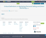 Critical Definitions in Marketing Personal Selling and Direct Marketing