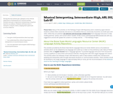 Musical Interpreting, Intermediate-High, ASL 202, Lab 07