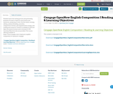Cengage OpenNow English Composition I Reading & Learning Objectives