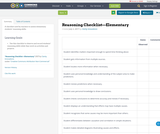 Reasoning Checklist—Elementary