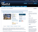 Best Practices in Tropical Cyclone Briefings