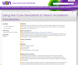 Using the Core Standards to Teach Academic Vocabulary