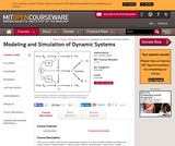 Modeling and Simulation of Dynamic Systems, Fall 2006