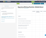 Expository Writing Checklist—Middle School