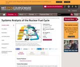 Systems Analysis of the Nuclear Fuel Cycle, Fall 2009