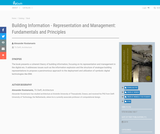 Building Information - Representation and Management: Fundamentals and Principles