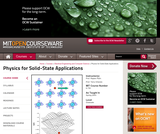 Physics for Solid-State Applications, Spring 2003