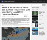 AMSR-E Anomalous Atlantic Sea Surface Temperature Data Used to Forecast 2003 Hurricane Season 1