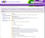 Establishing A Purpose For Reading Using Informational Text