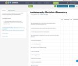 Autobiography Checklist—Elementary