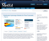 Distributed Hydrologic Models for Flow Forecasts - Part 2
