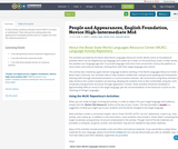 People and Appearances, English Foundation, Novice High-Intermediate Mid