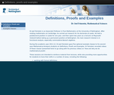 Definitions, proofs and examples