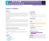 CS Discoveries 2019-2020: Interactive Animations and Games Lesson 3.5: Variables