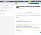 Learn Critical Thinking by Pros and Cons Listing Skills
